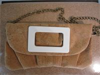 $95 Designer Hip to be Square Clutch with black or white decor.  Comes with detachable chain shoulder strap.